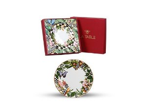 Conjunto de Pratos Rasos com 04 Peças em Cerâmica Floral Chess