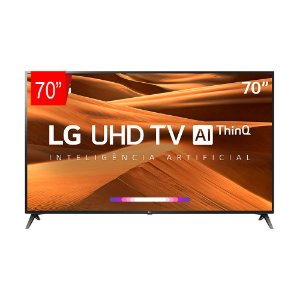 "Smart TV 70"" LED UHD 4K, ThinQ AI, WebOS 4.5, Apple Airplay 2, Processador Quad Core - 70UM7370"