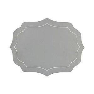 Conjunto de Jogo Americano de 2 Peças de Algodao Bordado - Cinza/Branco