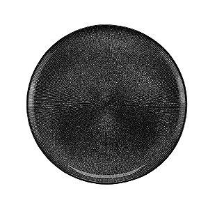 Prato de Sobremesa de Cristal Dots Preto - 21cm