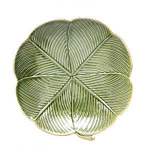 Prato Decorativo De Cerâmica Banana Leaf Verde 20x20x3cm Lyor Verde Único - UN