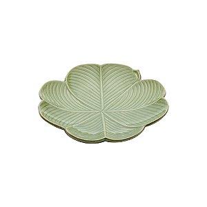 Prato Decorativo De Cerâmica Banana Leaf Verde 27,5x26,5x5cm Lyor Verde Único - UN