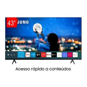 "Smart TV LED 43"" Crystal UHD 4K Samsung 43TU7000, Bluetooth, Borda Ultrafina, Controle Remoto Único"