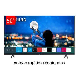 "Smart TV Samsung 50"" 4K Crystal UHD, Bluetooth, Borda Infinita, Controle Remoto Único - 50TU7000"