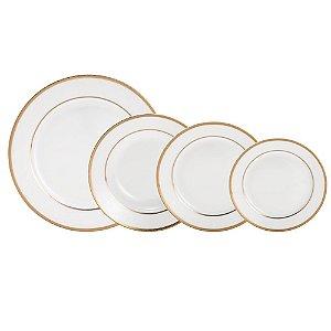 Aparelho de Jantar Alto Relevo Gold Em Porcelana - 30 Peças