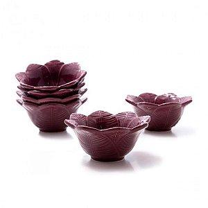 Bowl Leaves Sumac Em Ceramica - Conjunto de 6 Peças - 372 ml