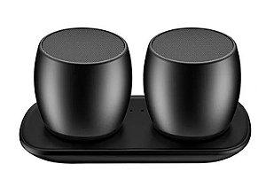2x Caixas De Som Gêmeas Bluetooth Sem Fio Sardine F1 Celular