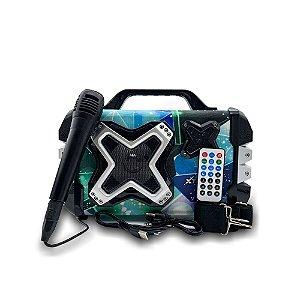 Caixa De Som Bluetooth Led TF / USB / Fm Microfone E Controle