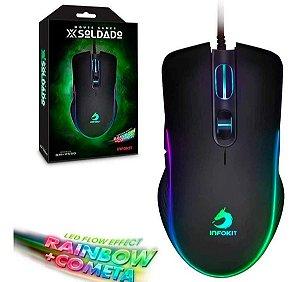 Mouse Gamer Ergonômico Com Luz Led 7 Cores Usb Até 6400 Dpi