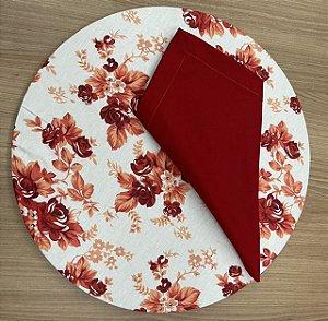 Kit 4 Lugares Vermelho Floral