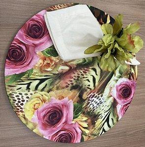 Kit 4 Lugares Floral verde Rosa
