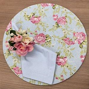 Kit 8 Lugares azul floral Rosa
