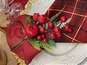 Porta Guardanapo Bouquet Natal Laço Vermelho