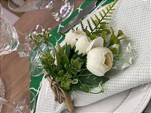 Porta Guardanapo Bouquet Branco Folhagem