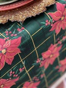 Trilho para mesa natalino xadrez verde flor