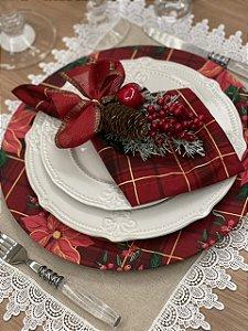 Porta Guardanapo Natal Laço Vermelho Maçã Pinha