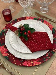 Capa para Sousplat Xadrez vermelho floral natal