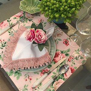 Jogo Americano Rosa Floral