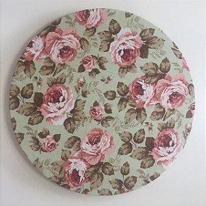 Capa de Sousplat Floral Verde Menta e Rosa Seco
