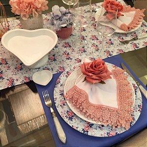 Capas para Sousplat - Floral Rosa e Azul