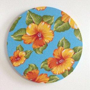 Capa de Sousplat Chita Turquesa Floral Laranja