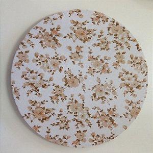 Capa para Sousplat Floral Bege e Branco