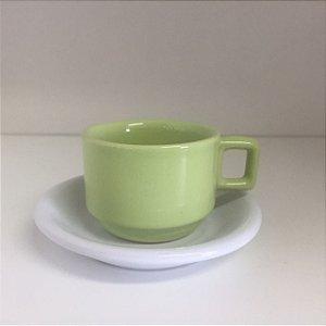 Xícara de Café Verde e Branco