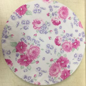 Capa para sousplat Branca Floral Rosa com Lilas
