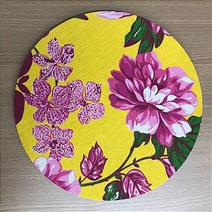 Capa Sousplat Chita - Amarela Floral Rosa