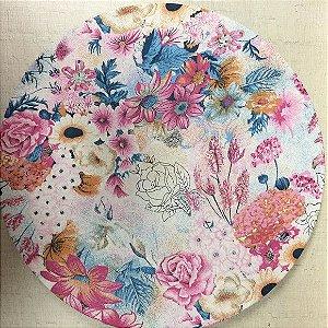 Capa de Sousplat Floral Rosa e Azul