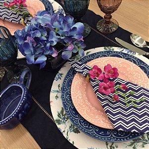 Capa Sousplat Rosa Bebe Floral Azul