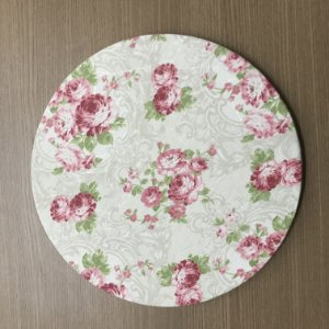 Capa Sousplat Jacquard Floral Rosa