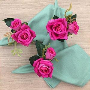 Porta Guardanapo Rosa e Botão Pink