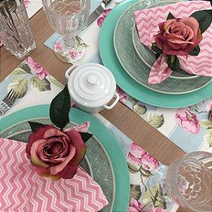 Jogo Americano Floral Rosa Listra Azul