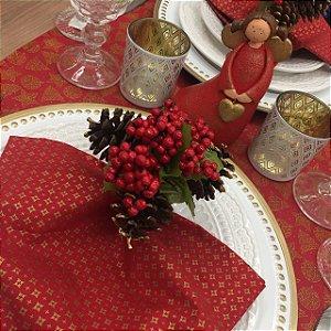 Trilho de Mesa Vermelho Estampa  Natal