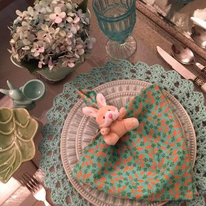 Guardanapo verde menta cenourinha