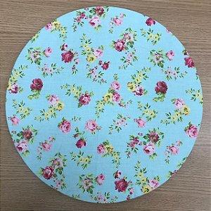 Capa para Sousplat Azul Floral Pink e Amarelo