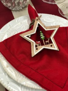 Porta Guardanapo Estrela de Natal em Madeira