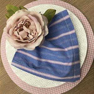 Guardanapo Tricoline Listrado Azul e Rosa