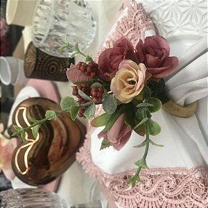 Porta Guardanapo Buquê de Mini Rosas