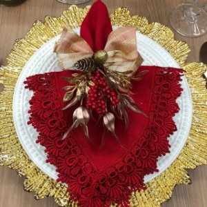 Porta Guardanapo Laço Rose com Dourado