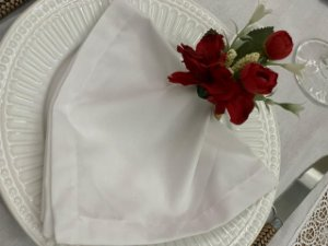 Porta Guardanapo Buque Mix de Flores  Vermelha
