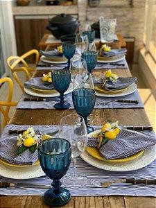 Trilho de mesa listrado marinho