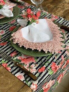 Trilho de mesa Floral Listrado Preto