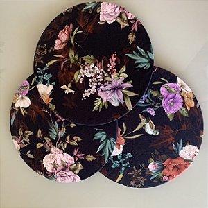Capa para Sousplat- Preta Floral