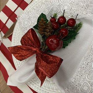 Porta Guardanapo Natal Laço Vermelho