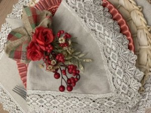 Porta Guardanapo Natal Flor e Laço