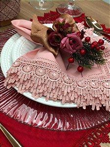 Porta Guardanapo Natal Rose Vermelho