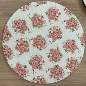 Capa para Sousplat Floral rosa seco