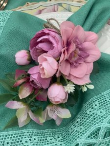 Porta Guardanapo Bouquet de Flores Rosa